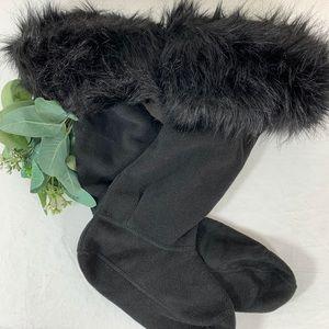 Hunter Tall Boot Socks Faux Fur Black Sz M & L